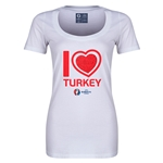 Turkey Euro 2016 Women's Heart Scoopneck T-Shirt (White)