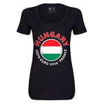 Hungary Euro 2016 Women's Fashion Scoopneck T-Shirt (Black)