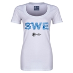 Sweden Euro 2016 Women's Elements Scoopneck T-Shirt (White)