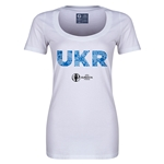 Ukraine Euro 2016 Women's Elements Scoopneck T-Shirt (White)