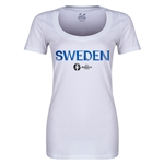 Sweden Euro 2016 Women's Core Scoopneck T-Shirt (White)