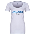 Ukraine Euro 2016 Women's Core Scoopneck T-Shirt (White)