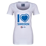 Sweden Euro 2016 Women's Heart Scoopneck T-Shirt (White)