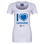 Ukraine Euro 2016 Women's Heart Scoopneck T-Shirt (White)