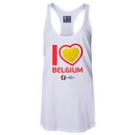 Belgium Euro 2016 Women's Heart Racerback Tank Top (White)