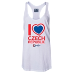 Czech Republic Euro 2016 Women's Heart Racerback Tank Top (White)