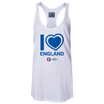 England Euro 2016 Women's Heart Racerback Tank Top (White)