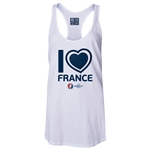 France Euro 2016 Women's Heart Racerback Tank Top (White)