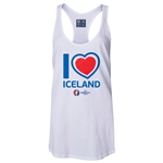 Iceland Euro 2016 Women's Heart Racerback Tank Top (White)