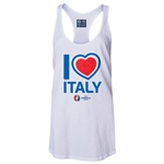 Italy Euro 2016 Women's Heart Racerback Tank Top (White)