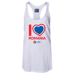 Romania Euro 2016 Women's Heart Racerback Tank Top (White)