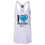 Russia Euro 2016 Women's Heart Racerback Tank Top (White)