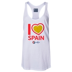 Spain Euro 2016 Women's Heart Racerback Tank Top (White)