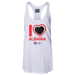 Albania Euro 2016 Women's Heart Racerback Tank Top (White)