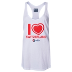 Switzerland Euro 2016 Women's Heart Racerback Tank Top (White)
