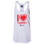 Turkey Euro 2016 Women's Heart Racerback Tank Top (White)