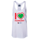 Hungary Euro 2016 Women's Heart Racerback Tank Top (White)