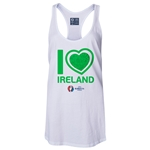 Ireland Euro 2016 Women's Heart Racerback Tank Top (White)
