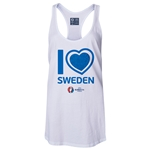 Sweden Euro 2016 Women's Heart Racerback Tank Top (White)