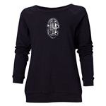 AC Milan Distressed Logo Women's Crewneck Fleece (Black)