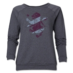 Aston Villa Distressed Women's Crewneck Sweatshirt (Dark Gray)