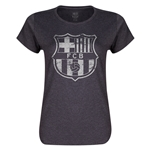 Barcelona Distressed Women's Crewneck Sweatshirt (Dark Gray)