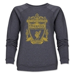 Liverpool Distressed Crest Women's Crewneck Fleece (Dark Gray)