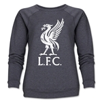 Liverpool Liver Bird Distressed Women's Crewneck Fleece (Dark Gray)
