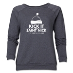 FC Santa Claus Kick with St. Nick Women's Crewneck Fleece (Dark Gray)