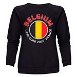 Belgium Euro 2016 Fashion Women's Crewneck Sweatshirt (Black)