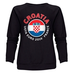 Croatia Euro 2016 Fashion Women's Crewneck Sweatshirt (Black)