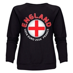 England Euro 2016 Fashion Women's Crewneck Sweatshirt (Black)