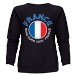 France Euro 2016 Fashion Women's Crewneck Sweatshirt (Black)