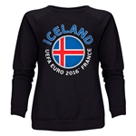 Iceland Euro 2016 Fashion Women's Crewneck Sweatshirt (Black)