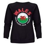 Wales Euro 2016 Fashion Women's Crewneck Sweatshirt (Black)