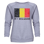 Belgium Euro 2016 Fashion Women's Crewneck Sweatshirt (Grey)