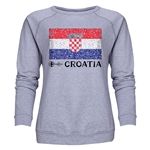 Croatia Euro 2016 Fashion Women's Crewneck Sweatshirt (Grey)