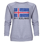 Iceland Euro 2016 Fashion Women's Crewneck Sweatshirt (Grey)