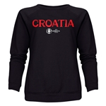 Croatia Euro 2016 Core Women's Crewneck Sweatshirt (Black)