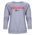 Croatia Euro 2016 Core Women's Crewneck Sweatshirt (Grey)