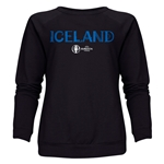 Iceland Euro 2016 Core Women's Crewneck Sweatshirt (Black)