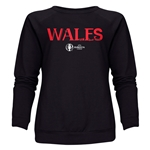 Wales Euro 2016 Core Women's Crewneck Sweatshirt (Black)