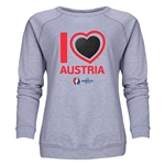 Austria Euro 2016 Heart Women's Crewneck Sweatshirt (Grey)