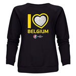Belgium Euro 2016 Heart Women's Crewneck Sweatshirt (Black)
