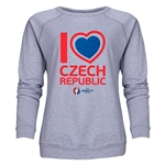 Chech Republic Euro 2016 Heart Women's Crewneck Sweatshirt (Grey)