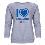 England Euro 2016 Heart Women's Crewneck Sweatshirt (Grey)
