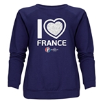 France Euro 2016 Heart Women's Crewneck Sweatshirt (Navy)
