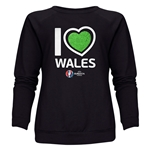 Wales Euro 2016 Heart Women's Crewneck Sweatshirt (Black)