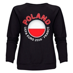 Poland Euro 2016 Fashion Women's Crewneck Sweatshirt (Black)