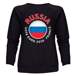 Russia Euro 2016 Fashion Women's Crewneck Sweatshirt (Black)